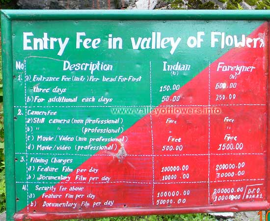 Entry fee for Valley of Flowers