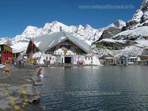 Hemkund Sahib is the worlds highest gurudwara. A very beautiful lake, with snow clad mountains throughout the year. This is a summer season picture.