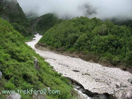 Frozen River near entry gate of Valley of Flowers