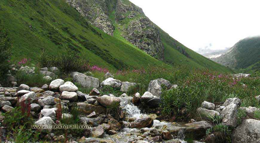 valley of flowers, the pushpawati river bed is very near