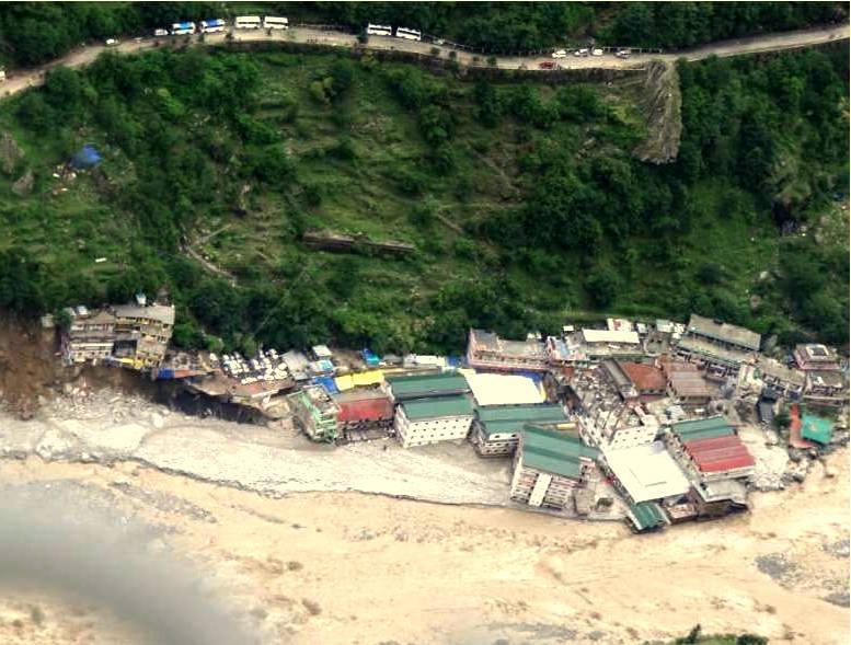 Govindghat after the destruction, many hotels, Parking and a vital bridge swept away.