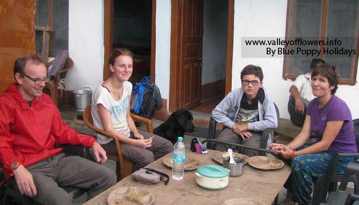 Our group having lunch at Sari village.