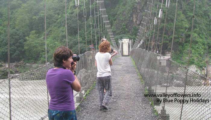 Hanging bridge on Ganges, between Rishikesh and Devprayag.