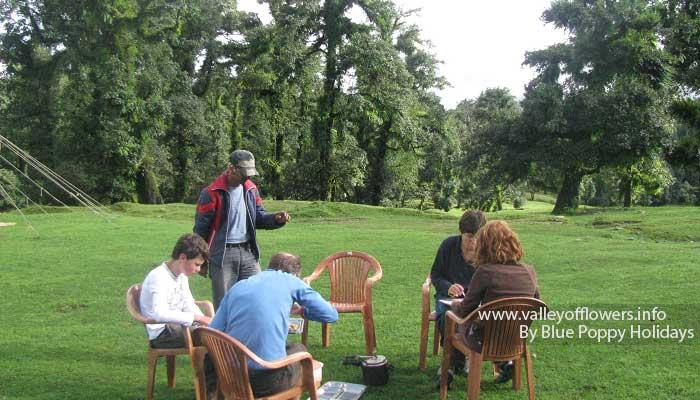 Groups members having breakfast near Swiss Tents at Chopta.