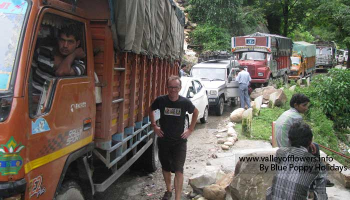 Traffic Jam due to Landslide. We were lucky that it got cleared soon.