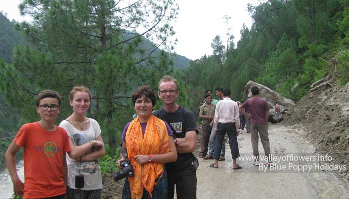 Our group members at the land slide site at Nandprayag.