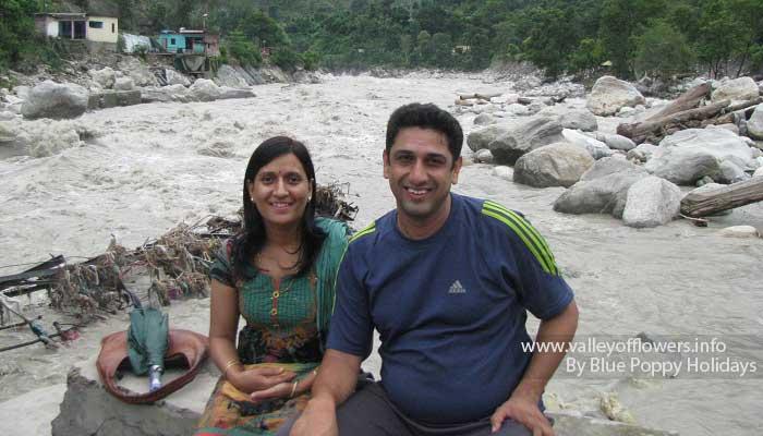 Me and my wife at Nandprayag.
