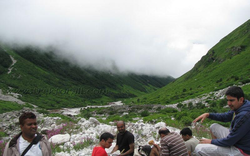 Group members having lunch 10 kilometers inside the Valley of Flowers.