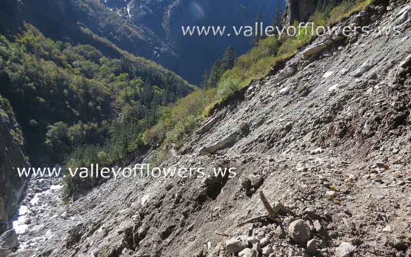 Valley of Flowers after floods - Trek is damaged, this is newly constructed make shift trek. Next year the trek would be good one.