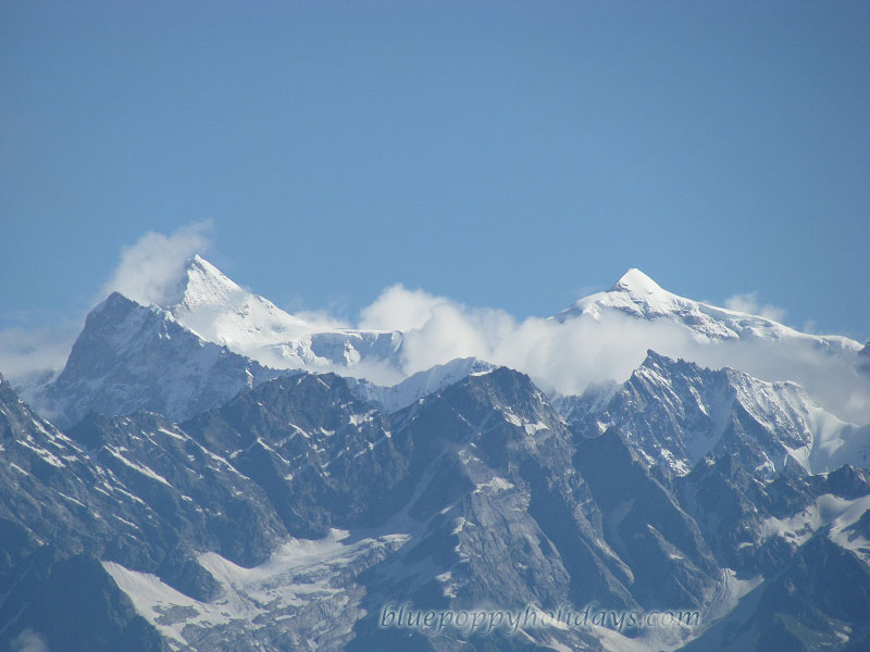 Mana, Nilgiri peaks and  Neelkanth from Gorson campsite on Kuari Pass Trek