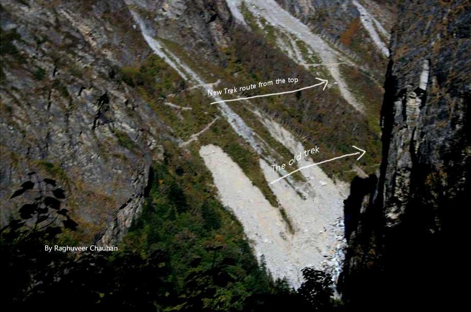 New trek and old trek to valley of flowers as seen from trek to Hemkund Sahib
