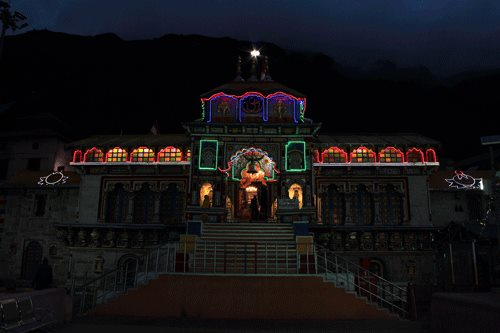 Badrinath Temple in the night