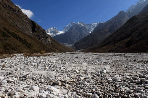 Pushpawati river and Tipra Glacier in October