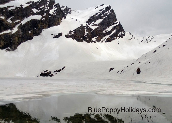 Frozen Hemkund Sahib Lake in the month of June. (First week)