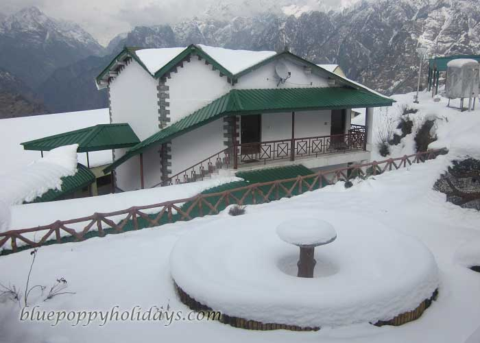 Beautiful View of snow covered hotel at Auli