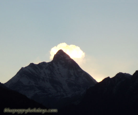 Nanda Devi Peak view in the morning from Auli