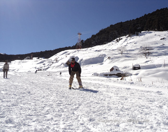 Skiing at Auli in Winter
